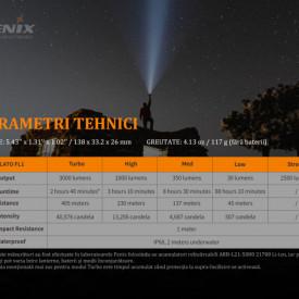Lanterna Tactica Reincarcabila Fenix PD36R 3000 Lumeni 405 Metri Caracteristici