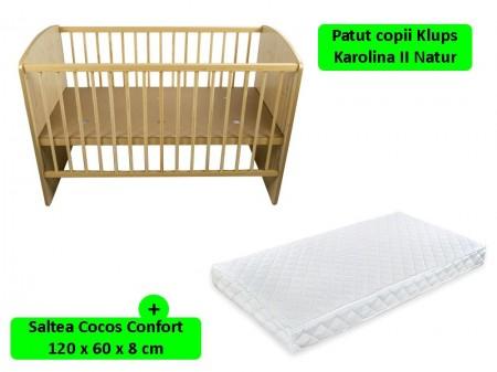 Poze Patut fara sertar KLUPS Karolina II Natur + Saltea 8 MyKids Confort II