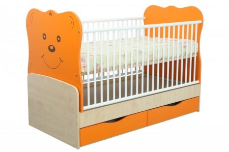 Poze Patut Transformabil MYKIDS Teddy Natur-Orange Cu Leg 4837