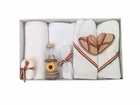 Trusou Botez Traditional cu Clop Brodat,7 piese,Alb/Tricolor