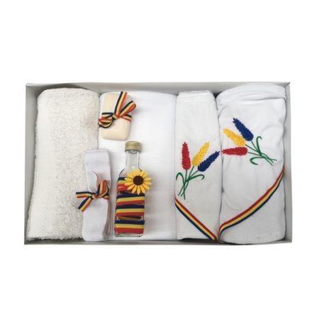 Trusou Botez Traditional Brodat cu Spice de Grau ,7 piese ,Alb/Tricolor