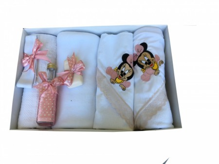 Trusou Botez 7 piese, Brodat cu Baby Minnie Mouse ,Roz Pudra