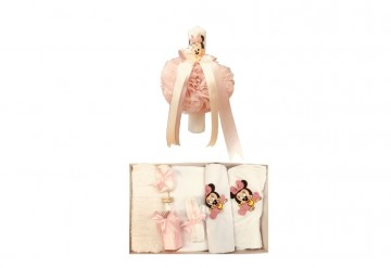 Set doua piese, lumanare Baby Minnie Mousesi trusou brodat Baby Minnie Mouse,Roz