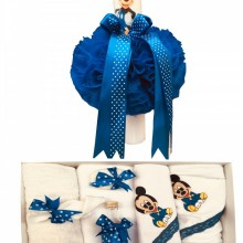 Set Botez 8 piese ,Trusou brodat 7 piese Baby Mickey Mouse ,Lumanare Mickey Mouse,Albastru