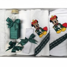 Trusou Botez 7 piese, Brodat cu Mickey Mouse ,Verde