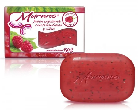 Jabón de tocador Murano con frambuesa y chía / Paquete con 10 piezas de 150g