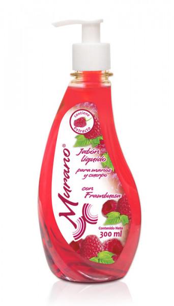 Murano jabón líquido con frambuesa / Caja con 10 botellas de 300ml