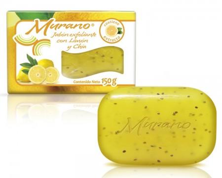 Jabón de tocador Murano con limón y chía / Caja con 40 piezas de 150g