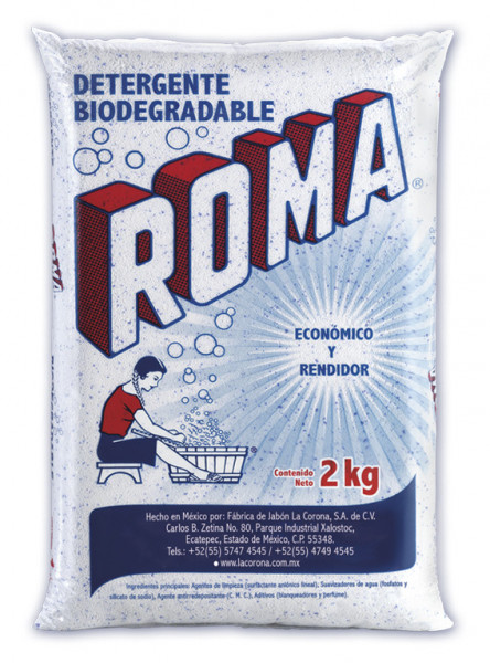 Roma detergente en polvo / Caja con 10 bolsas de 2 kg