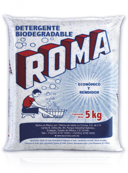 Roma detergente en polvo / Caja con 4 bolsas de 5 kg