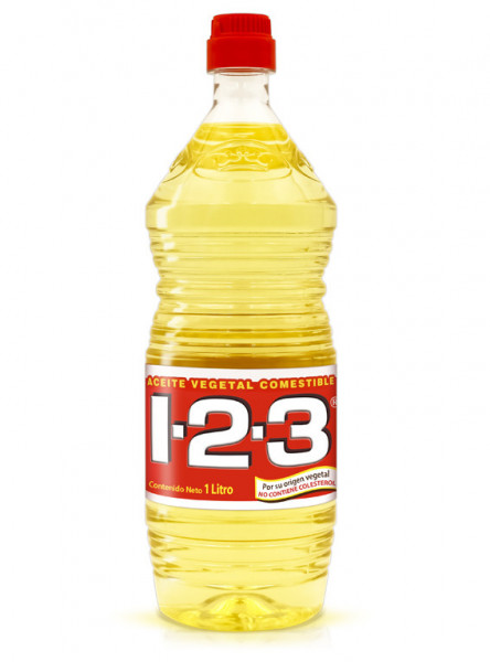 1-2-3 aceite vegetal comestible / Caja con 9 botellas de 1 Litro