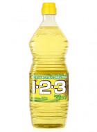1-2-3 aceite vegetal comestible puro de girasol / Caja con 12 botellas de 1 Litro