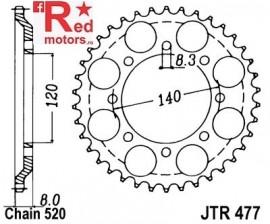 Foaie/pinion spate JTR477.43 520 cu 43 de dinti pentru Kawasaki KLR 600