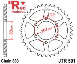 Foaie/pinion spate JTR501.38 630 cu 38 de dinti pentru Kawasaki GPZ 1100, Z 650, Z 1000, Z 750