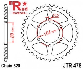 Foaie/pinion spate JTR478.38 520 cu 38 de dinti pentru Kawasaki GPZ 550