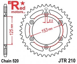 Foaie/pinion spate JTR210.51 520 cu 51 de dinti pentru HM-Moto