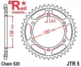 Foaie/pinion spate JTR5.49 520 cu 49 de dinti pentru Aprilia Moto 650, Pegaso 650