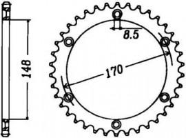 FOAIE SPATE JT 48 DINTI (JTR828) - SUZUKI DR750S-1989 / DR800 1993 SCHEIBR