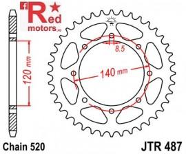 Foaie/pinion spate JTR487.43 520 cu 43 de dinti pentru Kawasaki BJ 250, KL 650, KLE 500