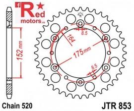 Foaie/pinion spate JTR853.51 520 cu 51 de dinti pentru Barossa/SMC, Derbi DXR, Yamaha DT 400