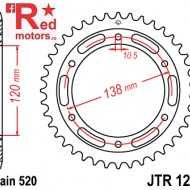 Foaie/pinion spate JTR1220.38 520 cu 38 de dinti pentru Honda CBR 250, CBR 300