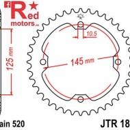 Foaie/pinion spate JTR1857.37 520 cu 37 de dinti pentru SMC/Barossa Black Hawk 250, Yamaha YFM 250, YFM 350