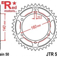 Foaie/pinion spate JTR502.42 530 cu 42 de dinti pentru Kawasaki GPZ 750, GPZ 900, GPZ 1100, ZRX 1100, ZX-10 1000