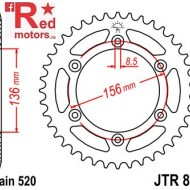 Foaie/pinion spate JTR822.51 520 cu 51 de dinti pentru Beta RR 350 4T, 250 4T, 450 Enduro
