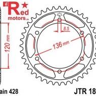 Foaie/pinion spate JTR1847.46 428 cu 46 de dinti pentru Yamaha FZR 400, TDR 125