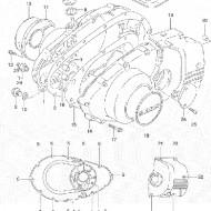 OEM Emblema autocolant Capac motor alternator stanga magnetou - stator Suzuki GS500