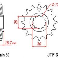 Pinion fata JTF333 cu 16 dinti Honda CBR1000RR/CB900F Hornet/CB1000/CBF1000/CBR900/VF750/VTR1000