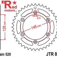 Foaie/pinion spate JTR808.43 520 cu 43 de dinti pentru Suzuki DR 350, DR-Z 400