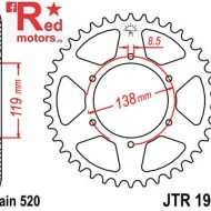 Foaie/pinion spate JTR1950.50 520 cu 50 de dinti pentru Husaberg FC 350, FC 400, FC 501, 600, FE 400