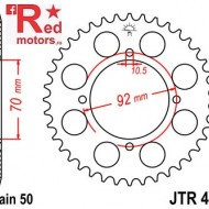 Foaie/pinion spate JTR476.40 530 cu 40 de dinti pentru Kawasaki Z 250, Z 400, Z 440, Z 500