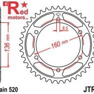 Foaie/pinion spate JTR5.46 520 cu 46 de dinti pentru Aprilia Moto 650, Pegaso 600, Pegaso 650