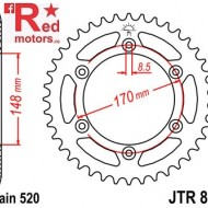 Foaie/pinion spate JTR828.46 520 cu 46 de dinti pentru Cagiva T4E 350, T4E 500, Suzuki DR 600, DR 650