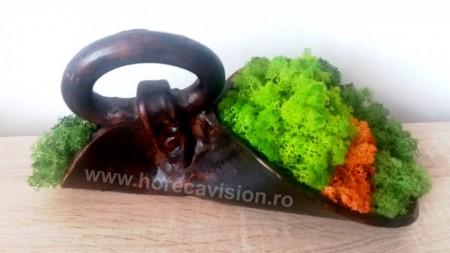 Decorațiune 2 din licheni verzi și portocalii, stabilizați, de calitate superioară.
