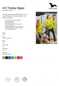 Hanorac Copii Malfini cu Gluga TRENDY ZIPPER 412 Verde Lime