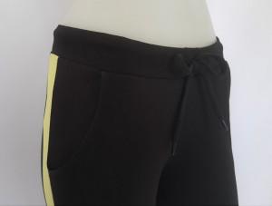 P.2183.Negru&Galben, Pantalon Dama 3/4 Conic cu Buzunar