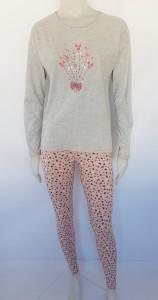 Pijama Damă Knox 2170 Gri Floricele