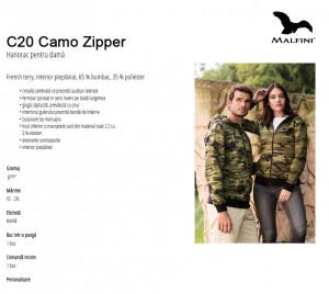 Hanorac Dama Camuflaj Malfini CAMO ZIPPER C20 Gri