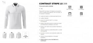 BluzaBarbati Slim Malfini CONTRAST STRIPE LS 258 Alb