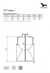 Vestă softshell pentru bărbaţi Malfini VISION 517 Gri Metalic