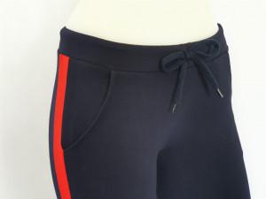 P.2183.Bleumarin&Rosu, Pantalon Dama 3/4 Conic cu Buzunar