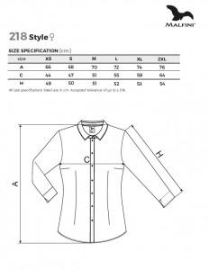 Camasa dama Malfini Slim-Fit STYLE LS 218 Alb
