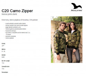 Hanorac Dama Camuflaj Malfini CAMO ZIPPER C20 Maro