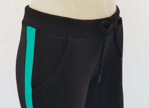 P.2183.Negru&Tropical, Pantalon Dama 3/4 Conic cu Buzunar