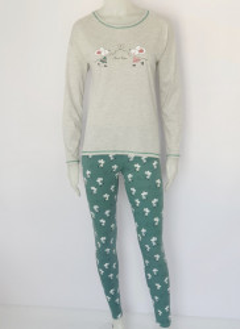 Pijama Damă Knox 2170. Gri Melanj & Verde
