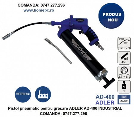 Pistol pneumatic pentru gresare ADLER AD-400 INDUSTRIAL material compozit