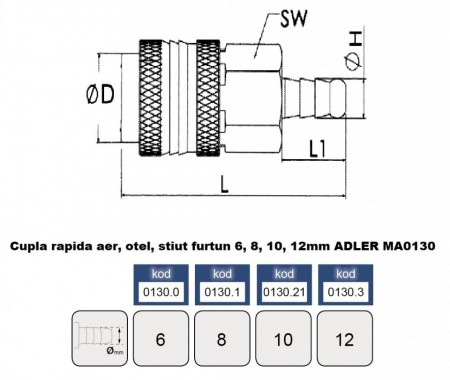 Cupla rapida aer, otel, stiut furtun 12 mm ADLER MA0130.3